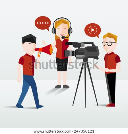 People Filming and Talking Using Headphone Vector Illustration - stock vector
