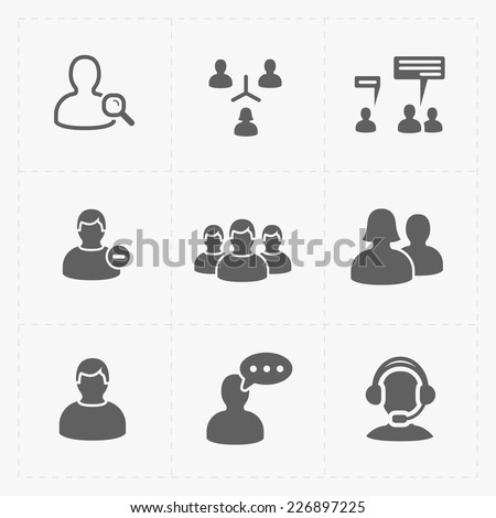 People flat icons set on White. - stock vector