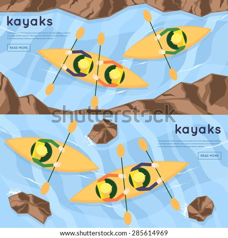 People floating on the river kayaking. Summer. Top view. Flat design vector illustration. - stock vector
