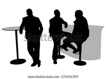 People for lunch at a restaurant on white background - stock vector
