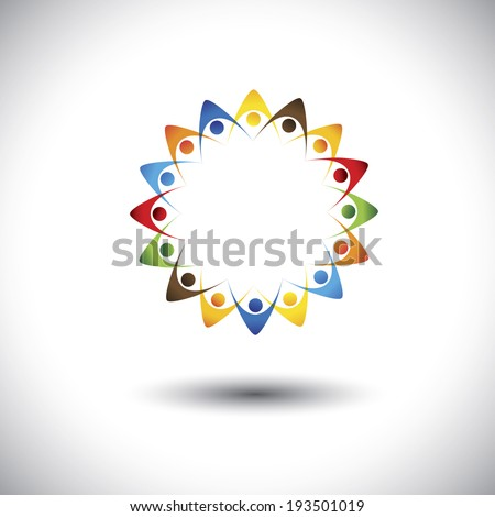 people forming star shape holding hands - concept vector graphic. This illustration also represents concepts like teamwork, team spirit, cooperation, alliance, bonding, engagement, interaction - stock vector