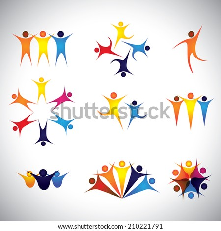 people, friends, children vector icons and design elements. This graphic also represents team & teamwork, leader & leadership, success & winning, group strength, employees & workers, kids playing - stock vector