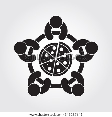 People Friends Eating Pizza Together Restaurant Vector Icon - stock vector