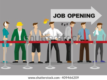 People from all walks of line waiting patiently in line in front of arrow sign that says Job Opening. Vector illustration on too many job seekers in competitive job market concept. - stock vector