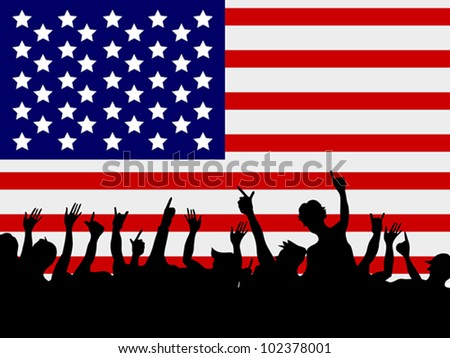 people gathering in front of USA flag - stock vector