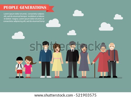 People generations in flat style. Vector illustration