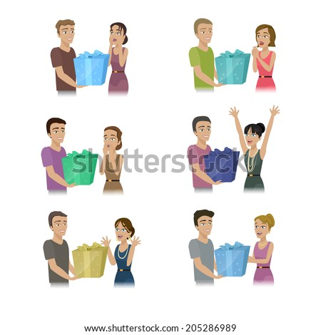 People Giving Gifts Set - Isolated On White Background - Vector Illustration, Graphic Design Editable For Your Design