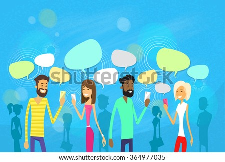 People Group Chat Social Network Communication Icons Vector Illustration - stock vector