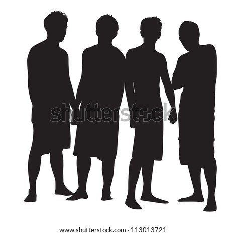 People, group of 4 men striking a pose, vector illustration