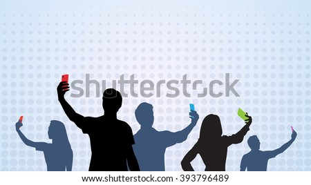 People Group Silhouette Taking Selfie Photo On Cell Smart Phone Vector Illustration - stock vector