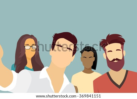 People Group Taking Selfie Photo On Smart Phone Mix Race Vector Illustration - stock vector