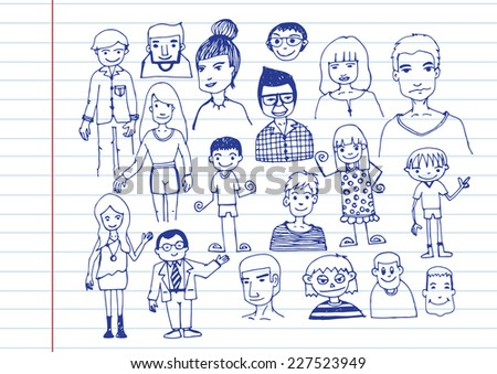 people hand drawn  and people Sketch by pen - stock vector