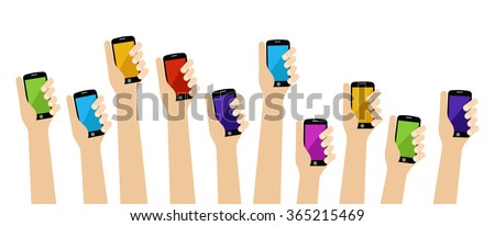 People hands holding color smartphone - stock vector