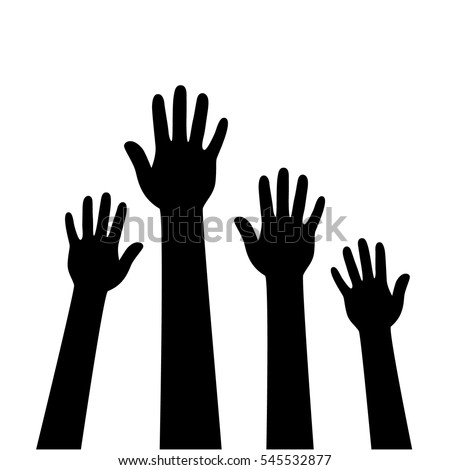 people hands raised vector illustration stock vector 545532877 rh shutterstock com Volunteer Raised Hands Vector Vector Hands Helping Others
