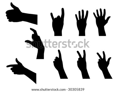 People Hands Silhouettes Set - stock vector