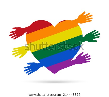 People hands with color flag of gay forming heart shape - stock vector