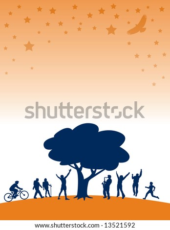People having summer fun under a tree with stars - stock vector