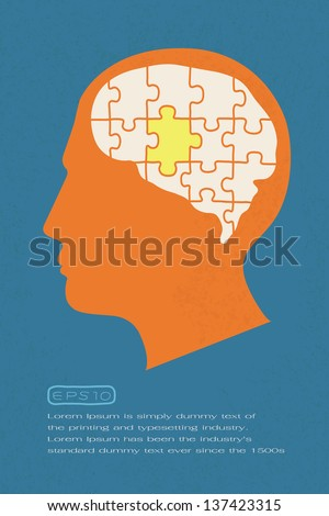 People head with puzzles elements , eps10 vector format - stock vector