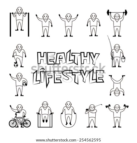 People healthy lifestyle funny vector icons