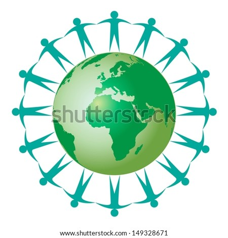 people hold hands in a ring around green planet earth  - stock vector