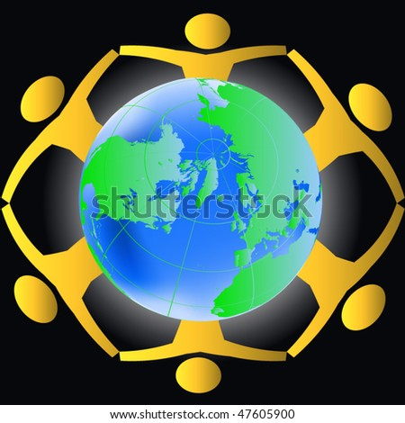People holding hands across the globe- concept for world peace, global harmony, keepers of the earth etc. - stock vector