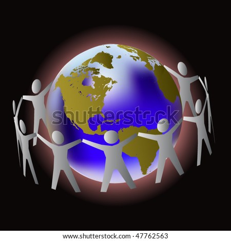 People holding hands around the globe - stock vector