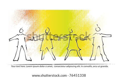People holding hands, icons (painterly drawing) - stock vector