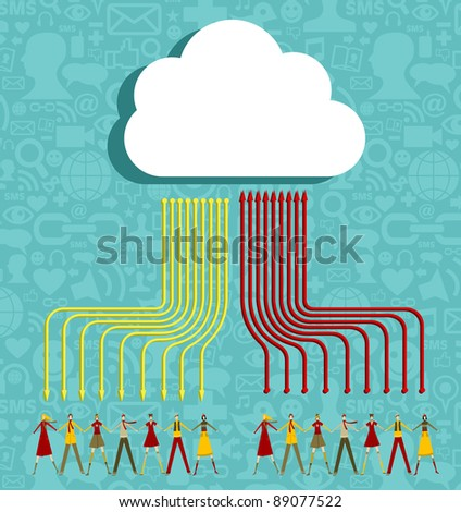People holding hands under cloud with social media communication icons with arrows going up and down on blue background.  Vector file available. - stock vector
