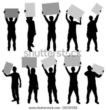 people holding sign - stock vector