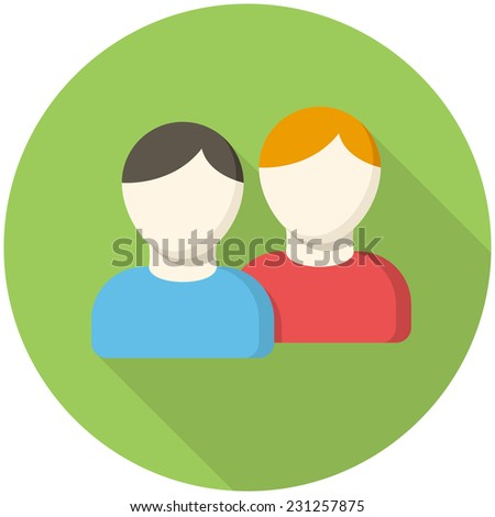 People icon (flat design with long shadows) - stock vector