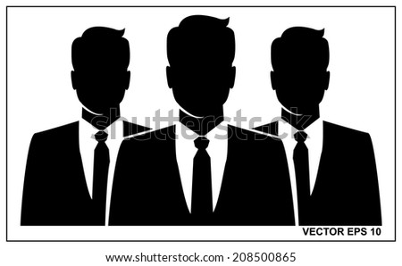 People icon, Group of business people with businessman leader on foreground  - stock vector