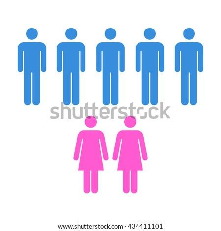 People Icon - Men & Women Vector - stock vector
