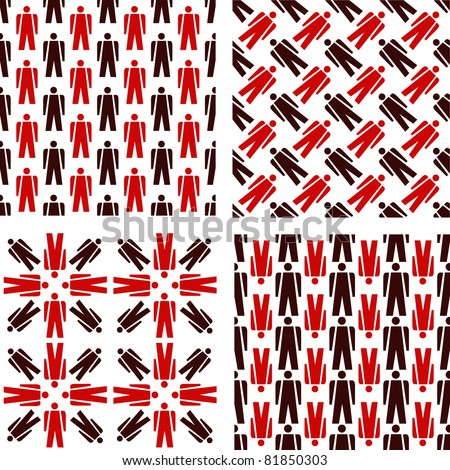 People icon pictogram seamless pattern for sociology and statistic - stock vector