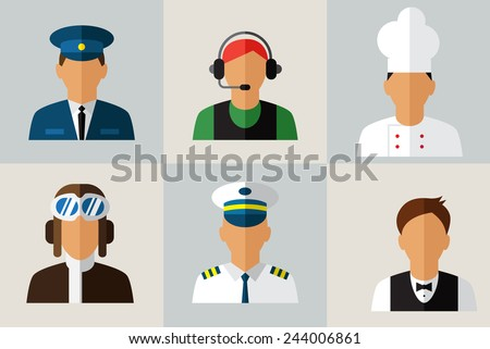 People icon ,professions icons , worker set. - stock vector