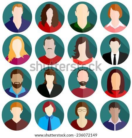 people icon set - stock vector