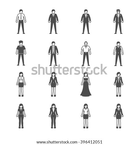 People icon set for infographics - stock vector