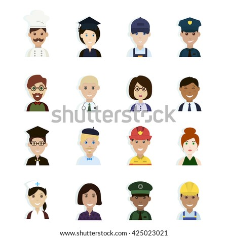People Icon Set. Professions and Occupations Avatar. Professions Vector Flat Icons.