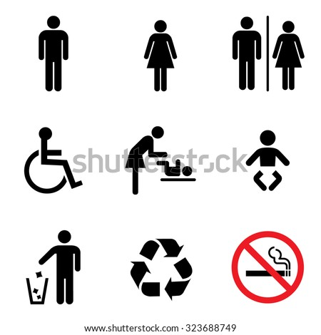 People icon set . Toilet Restroom Icon . Recycle symbol . Vector illustration - stock vector