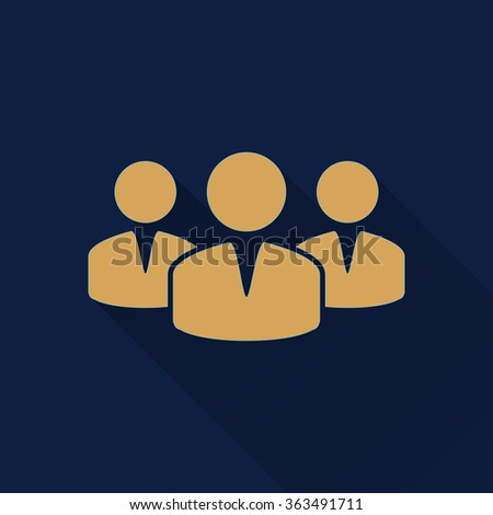 People  icon with long shadow, flat design. Vector illustration. - stock vector