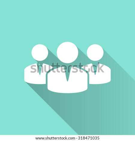People  icon with long shadow on green background, flat design. Vector illustration. - stock vector