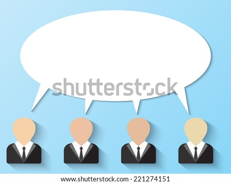 People icon with speech bubbles - stock vector