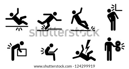 People icons: a variety of common accidents. Fall, trip, slip, hit head, back strain, back ache, electric shock, machinery. - stock vector