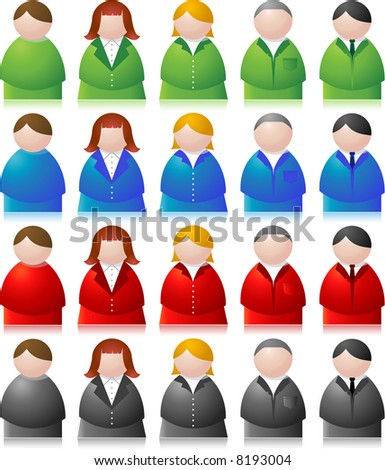 people icons - both male and female - stock vector