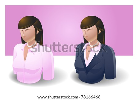 people icons : businessman female no.1 - stock vector