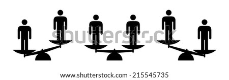 People icons: concept of equality, comparison and justice. - stock vector