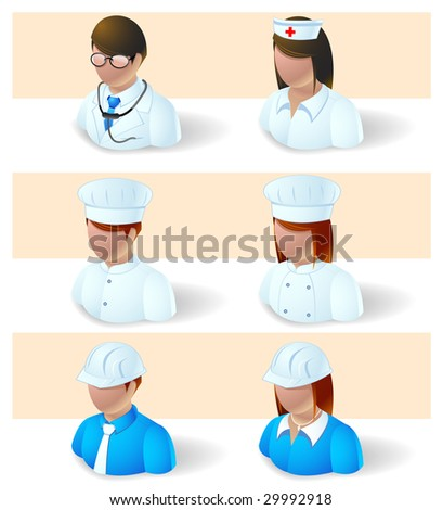 people icons - doctor, nurse, chef and engineer - stock vector