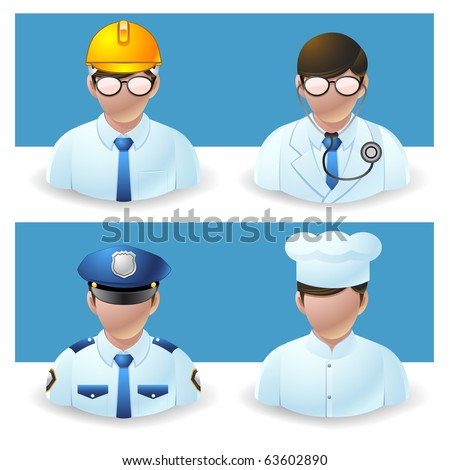 people icons - doctor, policeman, chef and engineer - stock vector