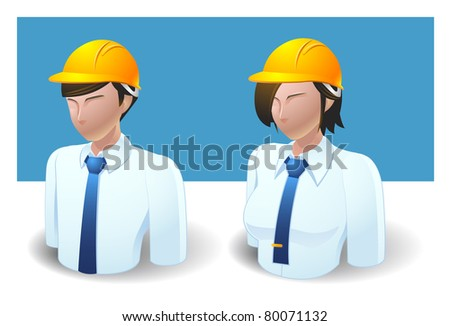 people icons : engineer male and female - stock vector