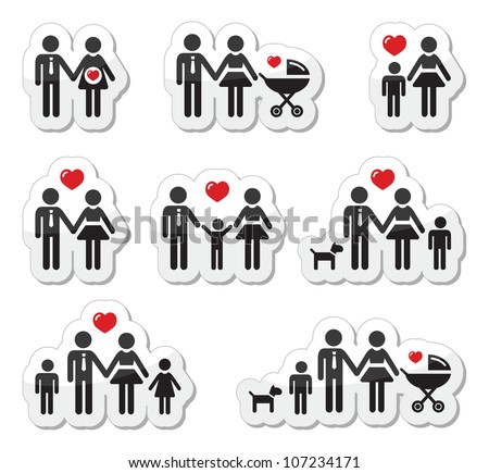 People icons - family, baby, pregnant woman, couples - stock vector