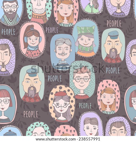 People icons in flat cartoon style. Vector illustration.Seamless pattern  - stock vector